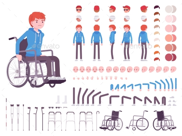 Male Young Wheelchair User Character Creation Set - People Characters