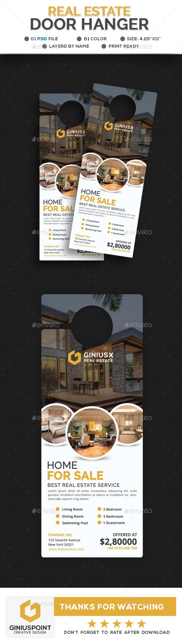 Real Estate Door Hanger by GeniusPoint | GraphicRiver