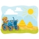 Vector Illustration of a Teddy Bear Tractor Driver