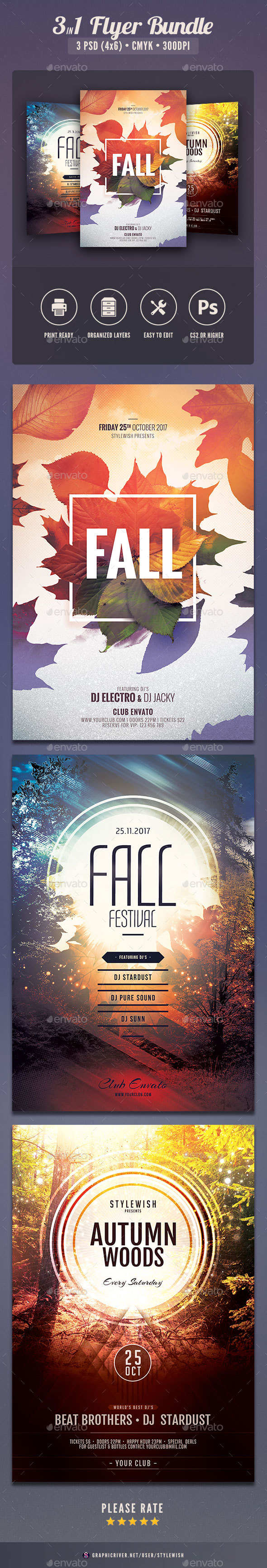 Fall Flyer Bundle Vol.02 - Clubs & Parties Events