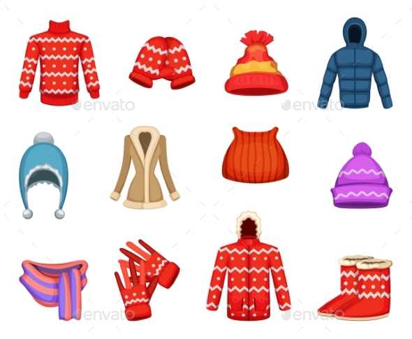Vector Illustrations of Winter Clothes Collection - Man-made Objects Objects