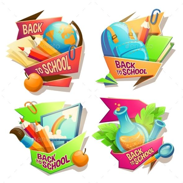 Set of Vector School Cartoon Illustrations - Miscellaneous Vectors