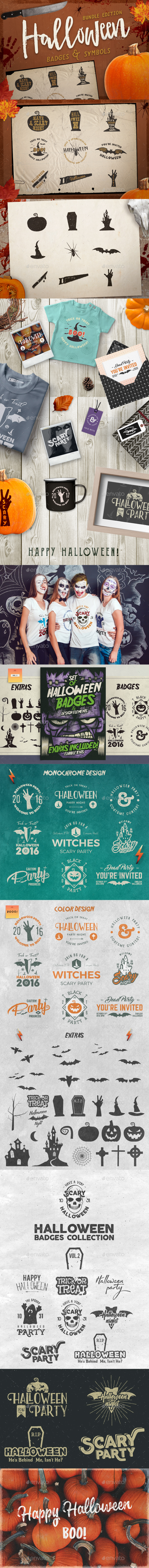 Halloween Badges / Retro Logo Set. Bundle Edition - Badges & Stickers Web Elements