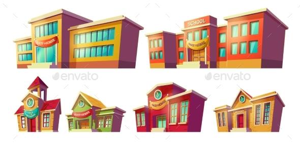 Set of Cartoon Buildings - Buildings Objects