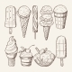 Different Ice Creams with Chocolate and Lollipops