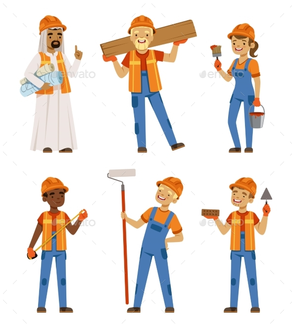 GraphicRiver Male and Female Workers in Uniform 20709040