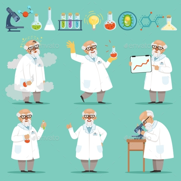 Scientist or Chemist at His Work. - People Characters