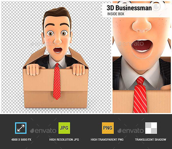 3D Businessman Coming Out of the Box - Characters 3D Renders