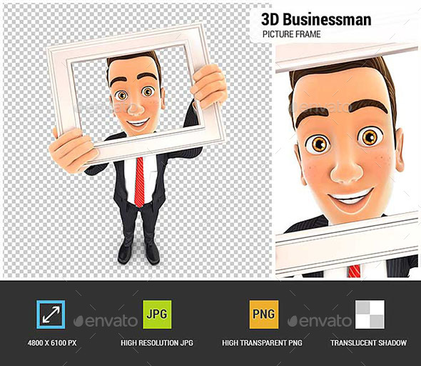 3D Businessman Holding Picture Frame - Characters 3D Renders