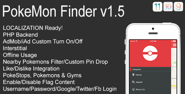 PokeMon Finder Full iOS Application v1.5 - CodeCanyon Item for Sale
