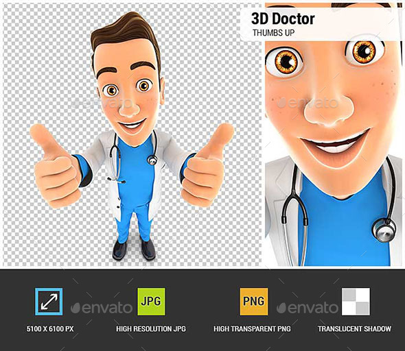 3D Doctor Thumbs Up - Characters 3D Renders