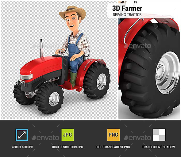 GraphicRiver 3D Farmer Driving Tractor 20709147