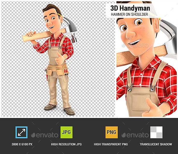 GraphicRiver 3D Handyman Carrying Hammer on Shoulder 20709154