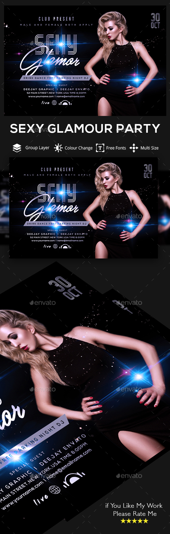 Exclusive Sexy Glamour Party Flyer Template - Clubs & Parties Events