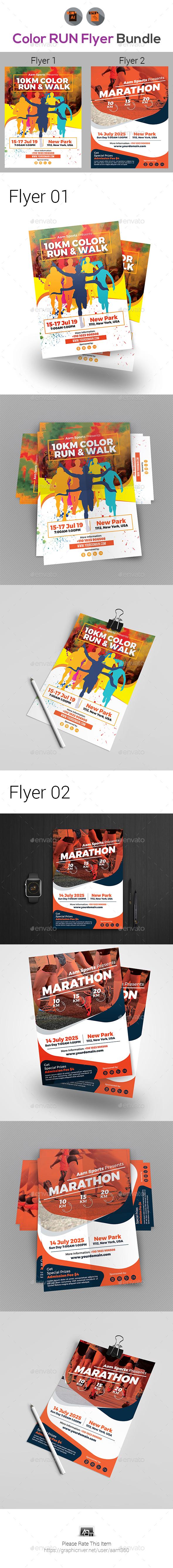 GraphicRiver Color Run & Marathon Event Flyer Bundle 20709189