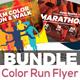 Color Run & Marathon Event Flyer Bundle