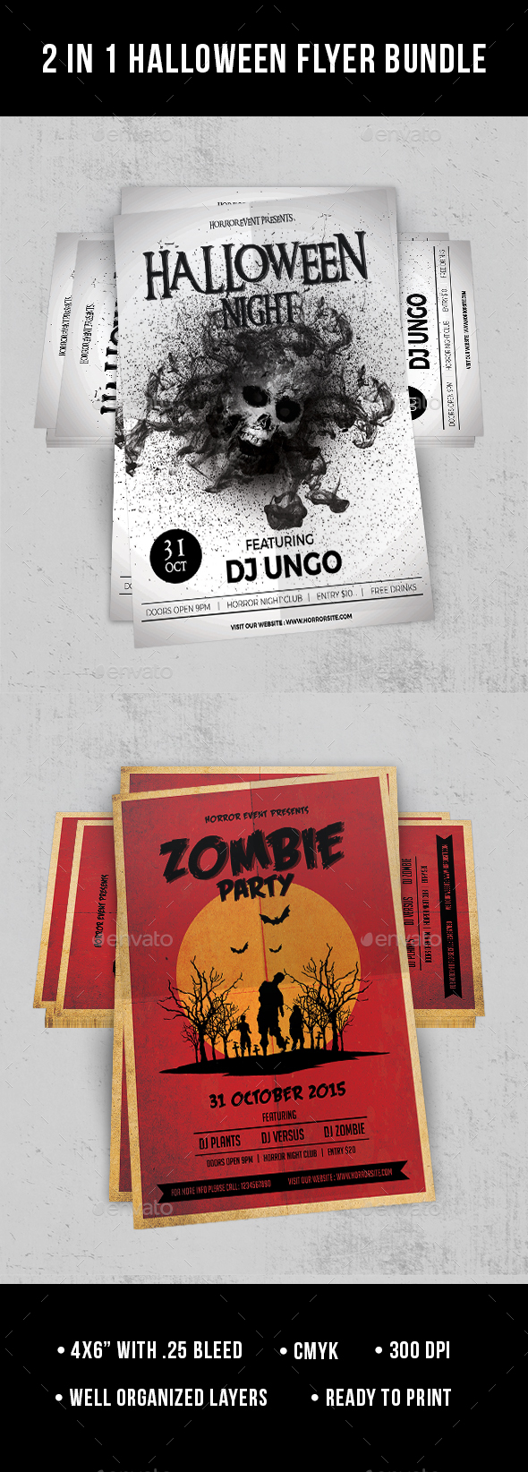 2 in 1 Halloween Flyer Bundle_Vol.2 - Clubs & Parties Events