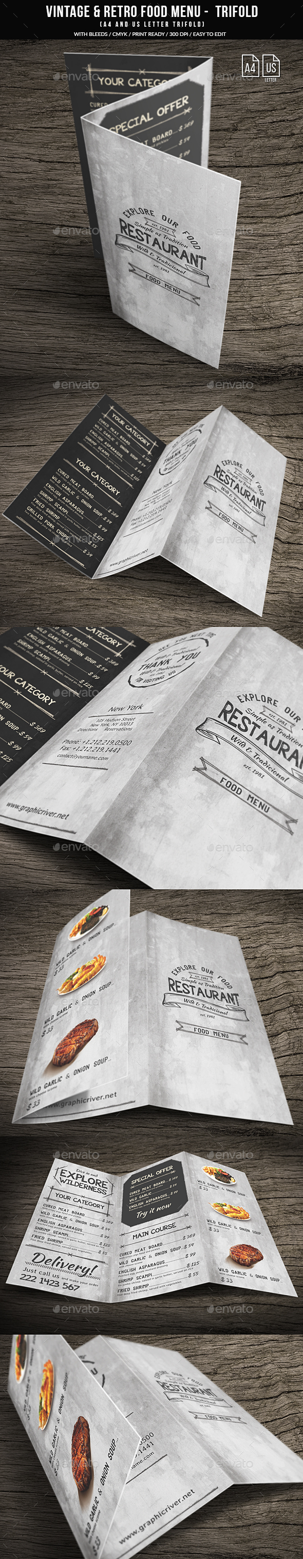 GraphicRiver Vintage And Retro Trifold Menu A4 & US Letter 20709270