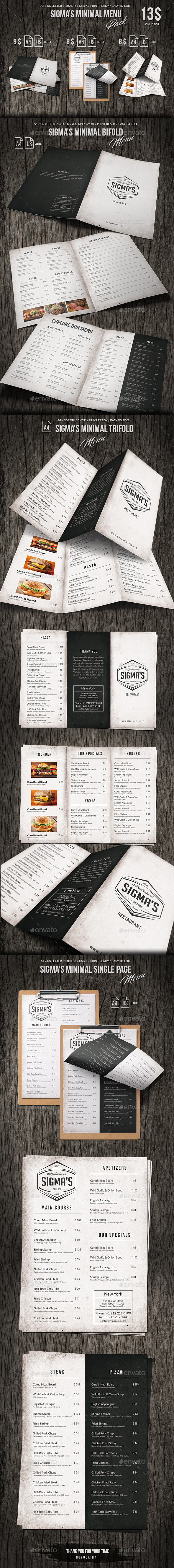Sigma Minimal Menu Pack - Food Menus Print Templates