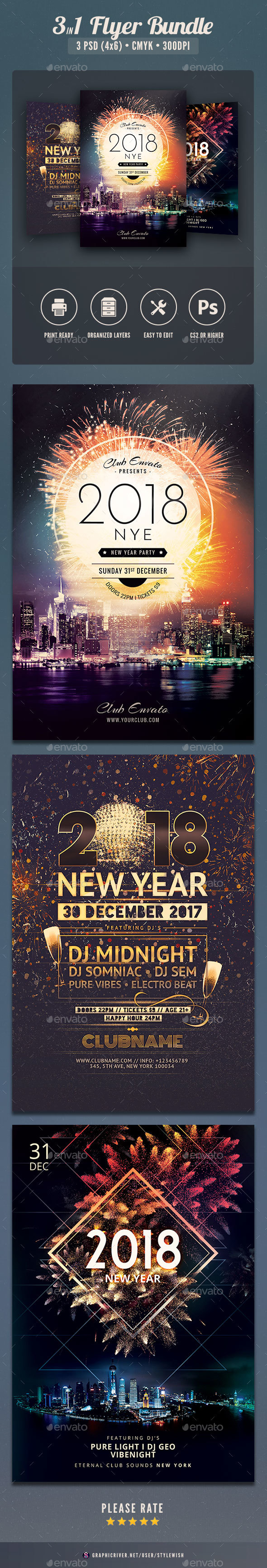 New Year Flyer Bundle Vol.06 - Clubs & Parties Events
