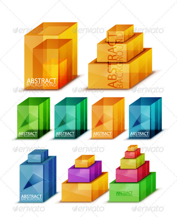 Set of Glass Cubes and Blocks - Miscellaneous Vectors