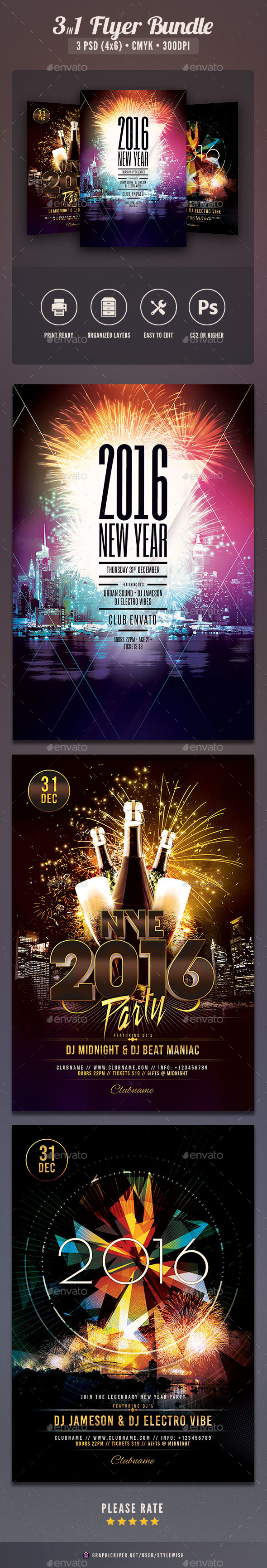 New Year Flyer Bundle Vol.05 - Clubs & Parties Events