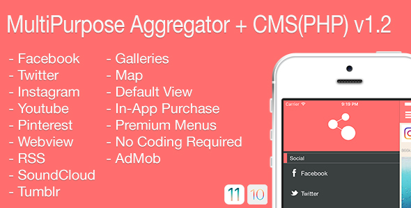 Multi-Purpose Aggregator + CMS(PHP) iOS Application v1.2 - CodeCanyon Item for Sale