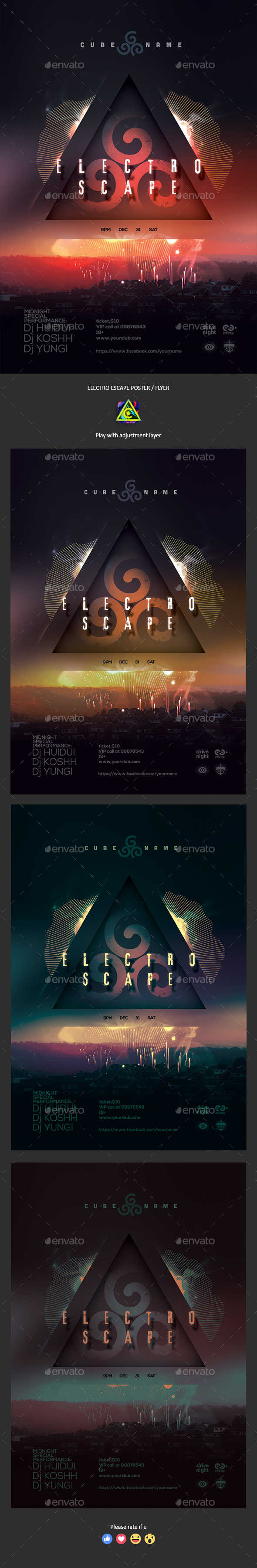 Electro Escape Poster / Flyer - Clubs & Parties Events