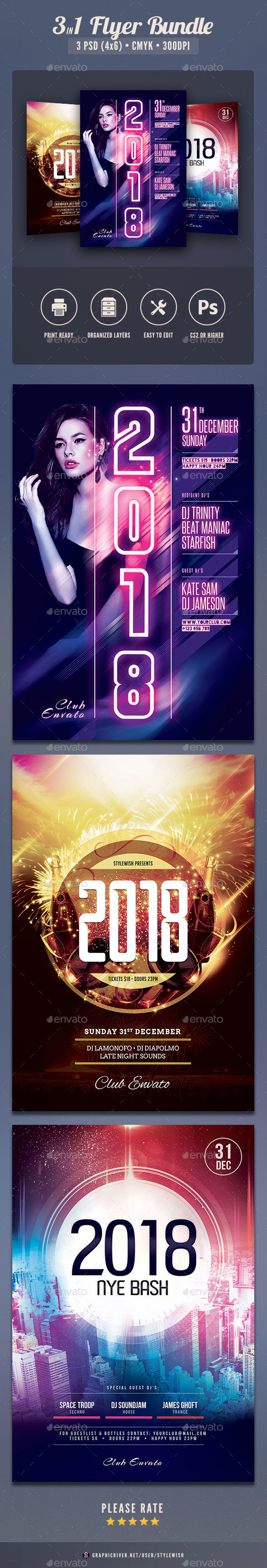 New Year Flyer Bundle Vol.03 - Clubs & Parties Events