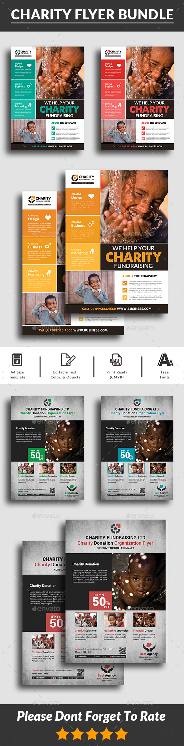 GraphicRiver Charity Flyers Bundle Templates 20709504