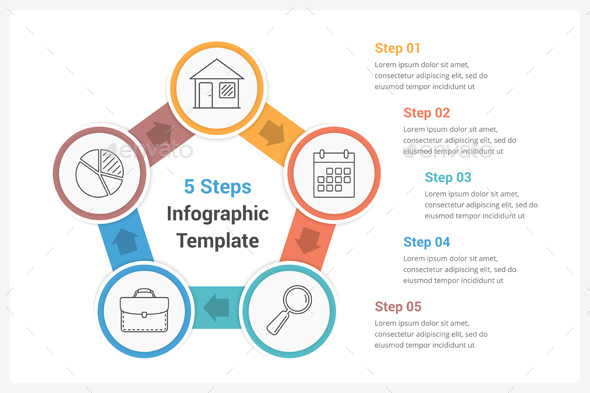 GraphicRiver Circle Infographics with Five Steps 20709542