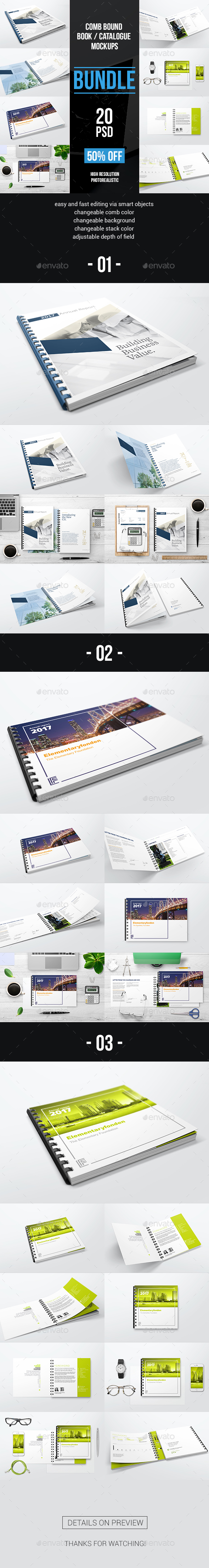 GraphicRiver Comb Bound Book Catalogue Bundle Mockups 20709554