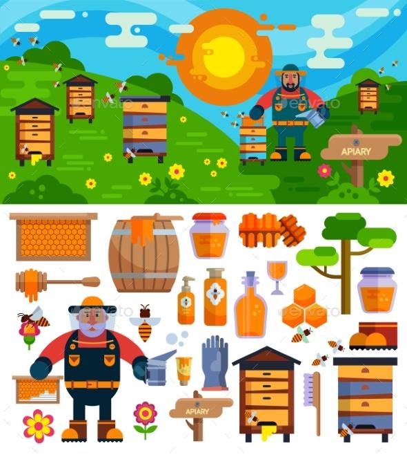 Apiary Beekeeper Vector Honey Making Farm Symbols - Nature Conceptual