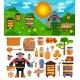 Apiary Beekeeper Vector Honey Making Farm Symbols - GraphicRiver Item for Sale