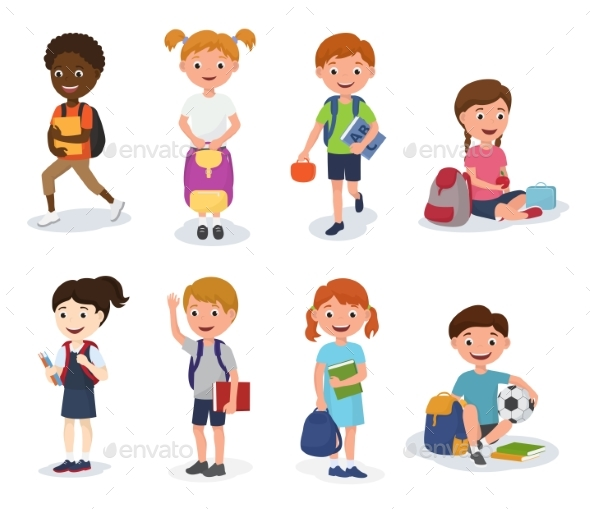GraphicRiver Group of School Kids Boys and Girls Children with 20709575