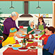 Family Having Christmas Dinner Together Illustration