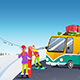 Couple Snowboarding at a Winter Resort - GraphicRiver Item for Sale