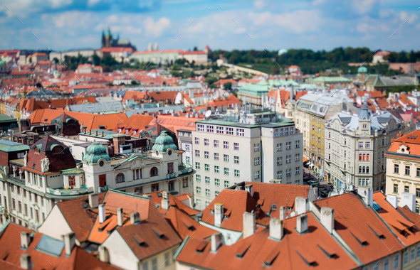 Prague view of the city from above. Tilt shift lens. - Stock Photo - Images