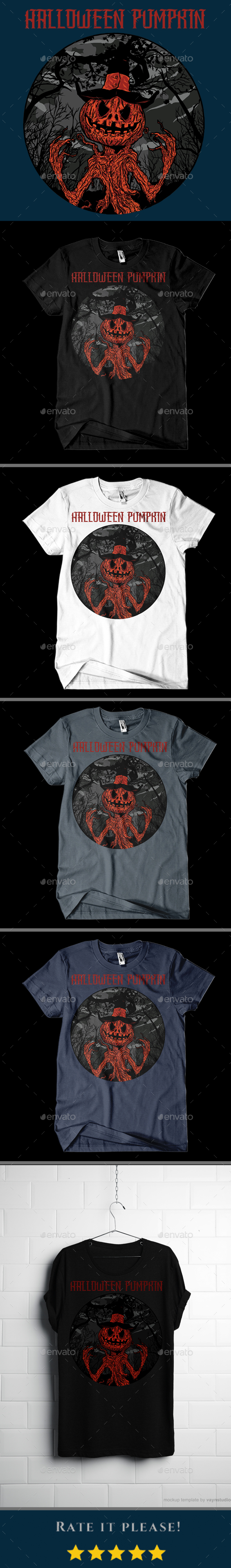 Halloween Pumpkin T-shirt Design - T-Shirts