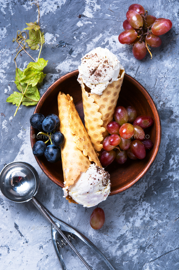 Ice cream with a taste of grapes - Stock Photo - Images