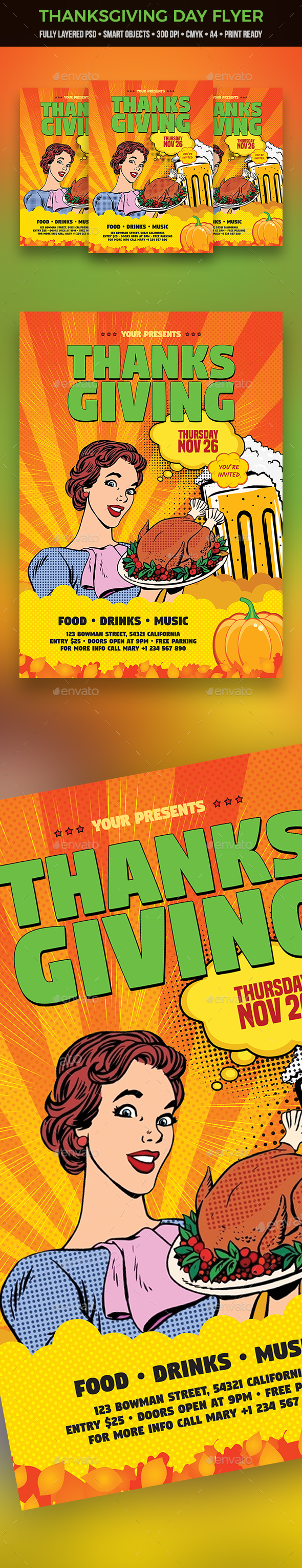 Thanksgiving Day Flyer - Clubs & Parties Events