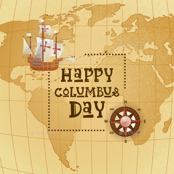 Happy Columbus Day National USA Holiday Greeting - Miscellaneous Seasons/Holidays