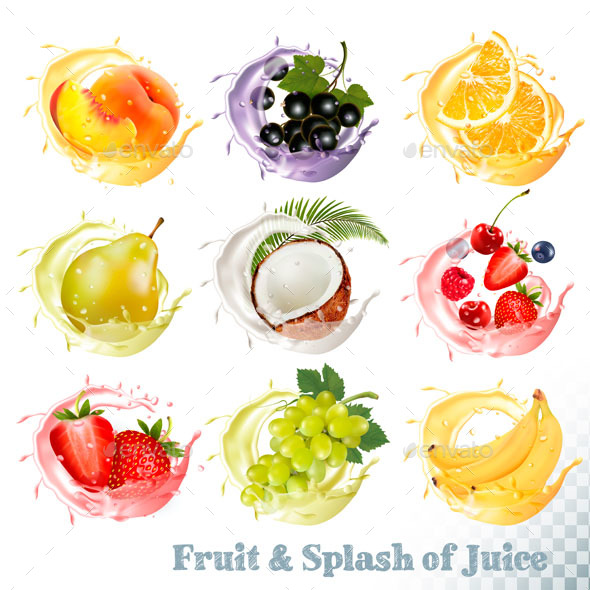 Set Of Fuit Juice Splash. Vector