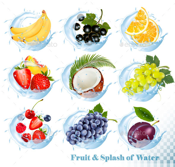 Big Collection Icons Of Fruit In A Water Splash - Food Objects