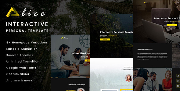 ThemeForest Alice Interactive Personal Template 20605100