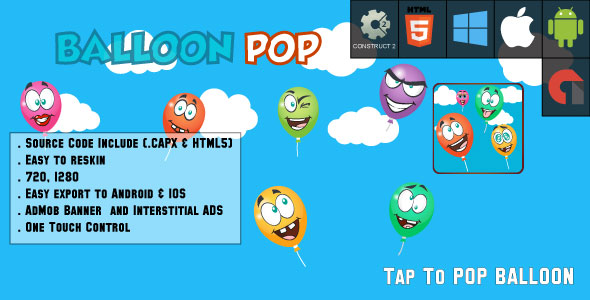 Balloon Pop - HTML5 Game - Android & IOS + AdMob (CAPX) - CodeCanyon Item for Sale