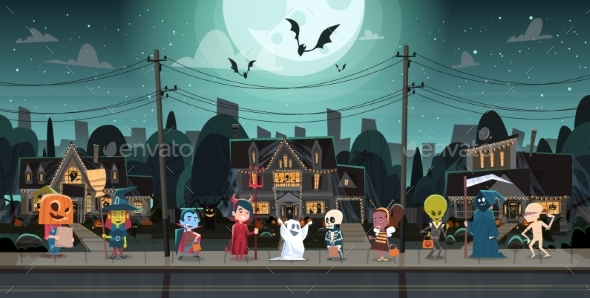 GraphicRiver Kids Wearing Monster Costumes Walking in Town 20710891