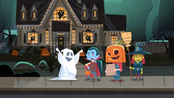 GraphicRiver Kids Wearing Monster Costumes Walking in Town 20710893