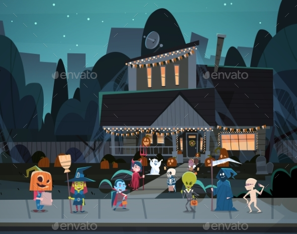GraphicRiver Kids Wearing Monster Costumes Walking in Town 20710895