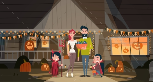 Family Celebrates Halloween Parents and Kids - Halloween Seasons/Holidays